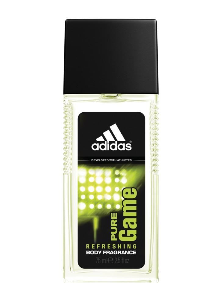 Adidas Pure Game Парфюмерная вода 75 млAdidas<br>Пряный древесный аромат Adidas Pure Game идеально подходит для активных, целеустремленных мужчин. Легкий освежающий аромат тела. Содержит небольшое количество спирта и парфюмерной композиции, что делает его идеальным для использования в качестве ароматизирующего средства в течение активного дня. Входящие в состав увлажняющие компоненты освежают и тонизируют кожу. Спрей сочетает уход и парфюм одновременно, его можно наносить до спортивной тренировки, во время и после.<br>Состав:<br>AQUA/WATER/EAU, ALCOHOL DENAT., PARFUM/FRAGRANCE, PEG-40 HYDROGENATED CASTOR OIL, ETHYLHEXYL METHOXYCINNAMATE, TRIETHYL CITRATE, LIMONENE, LINALOOL, BENZOPHENONE-3, FARNESOL, BUTYLPHENYL METHYLPROPIONAL, CITRONELLOL, CITRAL, PROPYLENE GLYCOL, HEXYL CINNAMAL, GERANIOL, COUMARIN, BHT, FD&amp;amp;C YELLOW NO.5 (CI 19140), FD&amp;amp;C BLUE NO.1 (CI 42090), EXT.D&amp;amp;C VIOLET NO.2 (CI 60730)<br><br>Вес г: 274<br>Бренд : Adidas<br>Объем мл: 75<br>Страна производитель : Испания<br>Вид Аромата : Пряный древесный<br>Шлейф : пачули, бобы тонка, древесина Тамботи<br>Верхняя Нота : базилик, розовый грейпфрут, пикантный пере<br>Верхняя Нота : базилик, розовый грейпфрут, пикантный пере