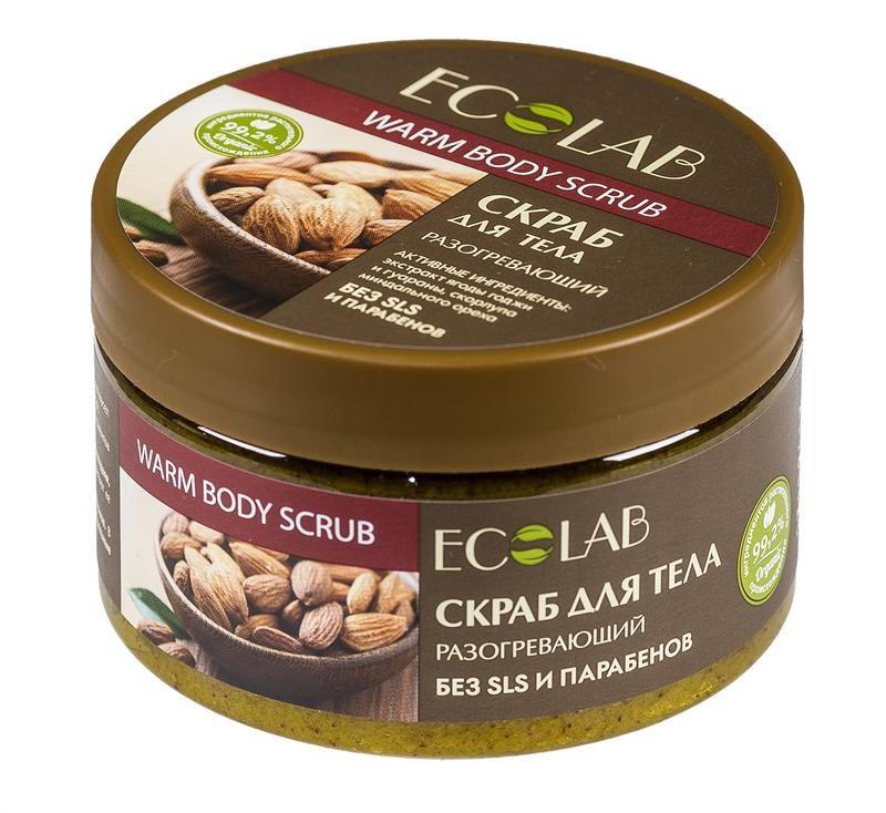 Ecolab Скраб Сахар для тела РазогревающийДля тела<br>Скрабы для тела Ecolab содержат более 99% ингредиентов растительного происхождения. В состав входят органическое масло ши и миндаля, которые питают, увлажняют и смягчают кожу, делают ее нежной и гладкой. Продукт не содержит парабенов и силиконов.Экстракт ягод годжи обладает выраженным антиоксидантным действием, снижая риск повреждения клеток свободными радикалами, а значит, омолаживает, способствует регенерации кожи.<br><br>Вес г: 300<br>Бренд : Ecolab<br>Объем мл: 250<br>Страна производитель : Россия