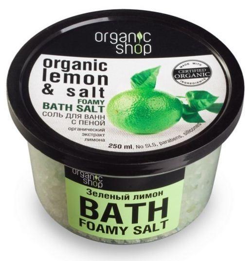 Organic shop соль-пена для ванн зеленый лимон 250мOrganic shop<br>Бодрящий коктейль из органического экстракта лимона, мяты и морской соли моментально восстановит силы, наполнит тело энергией, а душу позитивным настроением. Теплая ванна с приятным цитрусовым ароматом - мощный заряд для активного вечера.Использование: Растворите 4 столовые ложки во всем объеме ванны при температуре 36-38 градусов. Продолжительность приема процедуры 10-15 минут.Ингредиенты (INCI): Organic Ciitrus Medica Limonum Extract (органический экстракт лимона), Organic Mentha Piperita (Peppermint) Leaf (органический экстракт мяты), Organic Citrus Medica Limonum Oil (органическое масло лимона), Maris Salt (морская соль), Sodium Cocoyl Isethionate (из кокосового масла), Parfum, Chlorophyll, Citric Acid.Объем: 250 мл.<br><br>Вес г: 280<br>Бренд: Organic shop<br>Объем мл: 250<br>Страна производитель: Россия
