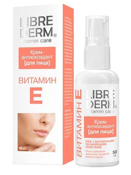 LIBREDERM ВИТАМИН Е Крем-антиоксидант для лица 50млLibrederm<br>Крем-антиоксидант с выраженными увлажняющими свойствами специально создан для великолепного ухода за вашей кожей. Кожа мгновенно становится увлажненной, мягкой и гладкой после нанесения. Легкая текстура крема не создает «эффекта пленки» на лице. Крем быстро впитается, не оставляет блеска и является прекрасной основой под макияж.  АКТИВНЫЕ КОМПОНЕНТЫ:  ВИТАМИН Е (токоферол) – мощный антиоксидант, замедляющий процессы старения, обладает превосходными увлажняющими свойствами, поддерживая водно-липидный баланс. Способствует быстрой регенерации и обновлению клеток. Помогает защитить кожу от вредного воздействия ультрафиолетовых лучей.  ЛЕЦИТИН – восстанавливает водный баланс, препятствуя испарению влаги из глубоких слоев кожи. Эффективно улучшает структуру кожи, делая ее более упругой. Нормализует работу сальных желез, активизирует липидный обмен в коже.<br><br>Вес г: 80<br>Бренд : Librederm<br>Объем мл: 50<br>Тип кожи : все типы кожи<br>Консистенция : крем<br>Тип крема : увлажняющий, питательный<br>Возраст : до 25, 25+, 30+, 35+<br>Эффект : эластичность<br>По времени суток : дневной уход<br>Страна производитель : Россия