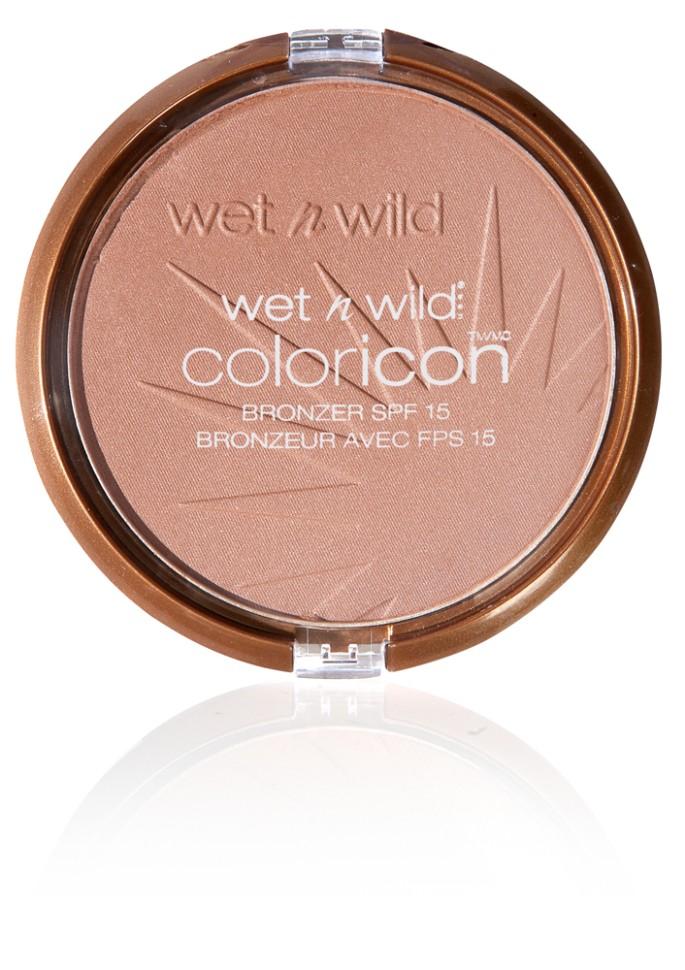Wet n Wild Компактная пудра для лица Бронзатор Color Icon Bronzer (E740 bikini contest)Wet n Wild<br>Пудра-бронзатор придает коже лица ровный легкий бархатистый эффект загара. Протестировано дерматологами. Формула содержит Защитный SPF фильтр. Уровень защиты 15.Способ применения:<br>аккуратно нанести на лицо специальной кистью<br>Состав:<br>Mica, Ethylhexyl Methoxycinnamate, Boron Nitride, Cyclopentasiloxane, Phenyl Trimethicone, Benzophenone-3, Nylon-12, Caprylyl Glycol, Methicone, Dimethicone Crosspolymer, Alumina, Bisabolol, Caprylhydroxamic Acid, Glycerin, Dimethicone/Vinyl Dimethicone Crosspolymer, Dimethiconol, [+/- (MAY CONTAIN): Iron Oxides/CI 77491, CI 77492, CI 77499, Titanium Dioxide/CI 77891 (nano), Manganese Violet/CI 77742, Titanium Dioxide/CI 77891]<br><br>Вес г: 100<br>Бренд : Wet&amp;Wild<br>Эффект покрытия : оттенок загара<br>Тип пудры : бронзирующая<br>Зеркало : Нет<br>Фактор SPF : 15<br>Страна производитель : Китай