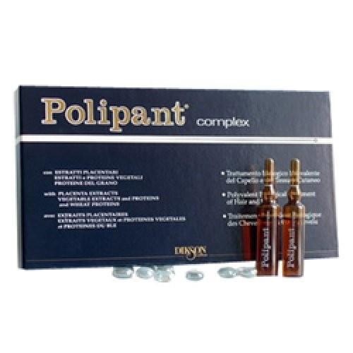 Dikson Polipant Complex ампульное средство для волос 12х10мл.Dikson<br>Уникальный биологический ампульный препарат с протеинами, плацентарными и растительными экстрактами для лечения выпадения волос и ухода за кожей головы.<br>Polipant Complex – это симбиоз косметики и фармакологии. Ампульное биологически активное средство терапевтического лечения для блокирования выпадения и стимуляции роста здоровых, новых, красивых волос. Оказывает тонизирующее действие как на волосы, так и на кожу головы, улучшает качество волосяного стержня и устраняет перхоть. Результат заметен уже на второй неделе применения. Незаменимый продукт для лечения алопеции различного происхождения.<br>Способ применения: Нанести по проборам на чисто вымытые волосы и интенсивными массажными движениями распределить по поверхности кожи головы (в течение 1-2 минут). Не смывать!<br>Используется курсами: - при сильном выпадении - каждый день в течение 1-1.5 месяцев - при сезонном выпадении – после каждого мытья в течение 1-1.5 месяцев - для профилактики выпадения - 1-2 раза в неделю (через 1 мытье) или для стимуляции роста волос. После курса необходимо сделать перерыв не менее 1-2 месяцев.<br>Уникальный биологический ампульный препарат с протеинами, плацентарными и растительными экстрактами для лечения выпадения волос и ухода за кожей головы.<br>Polipant Complex – это симбиоз косметики и фармакологии. Ампульное биологически активное средство терапевтического лечения для блокирования выпадения и стимуляции роста здоровых, новых, красивых волос. Оказывает тонизирующее действие как на волосы, так и на кожу головы, улучшает качество волосяного стержня и устраняет перхоть. Результат заметен уже на второй неделе применения. Незаменимый продукт для лечения алопеции различного происхождения.<br>Способ применения: Нанести по проборам на чисто вымытые волосы и интенсивными массажными движениями распределить по поверхности кожи головы (в течение 1-2 минут). Не смывать!<br>Используется курсами: - при сильном выпадении