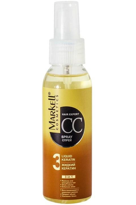 Markell CC-спрей жидкий Кератин для волосMarkell<br>Уход для поврежденных волос в чистом виде. Спрей придает дополнительный объем тонким волосам за счет уплотнения их структуры, кондиционирует и облегчает расчесывание, предотвращает сухoсть, сечение и ломкость волос, придает им эластичнoсть, гладкость и блеск; восстанавливает волосы после окрашивания, температурного и химического воздействия.Применение: нанести на чистые влажные волосы, уделяя особое внимание поврежденным участкам волос, высушить. Не требует смывания.<br><br>Вес г: 150<br>Бренд : Markell<br>Объем мл: 100<br>Тип волос : поврежденные, окрашенные, тонкие и ослабленные, длинные и секущиеся<br>Действие : восстановление, для объема, легкое расчесывание, сохранение цвета, блеск и эластичность, термозащита<br>Тип средства для волос : спрей<br>Страна производитель : Белоруссия