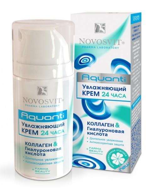 Novosvit увлажняющий крем 24 часа коллаген &amp; гиалуроновая кислота 50 млNovosvit<br>- Глубокое и длительное увлажнение - Антиоксидантная защита- Разглаживание морщинок- Восстанавливает мягкость и сияние кожи<br><br>Вес г: 70<br>Бренд : Novosvit<br>Объем мл: 50<br>Тип кожи : все типы кожи<br>Консистенция : крем<br>Тип крема : увлажняющий, восстанавливающий, с гиалуроновой кислотой<br>Возраст : до 25, 25+, 30+, 35+<br>Эффект : выравнивание, сияние, сокращает морщины<br>По времени суток : дневной уход<br>Страна производитель : Россия