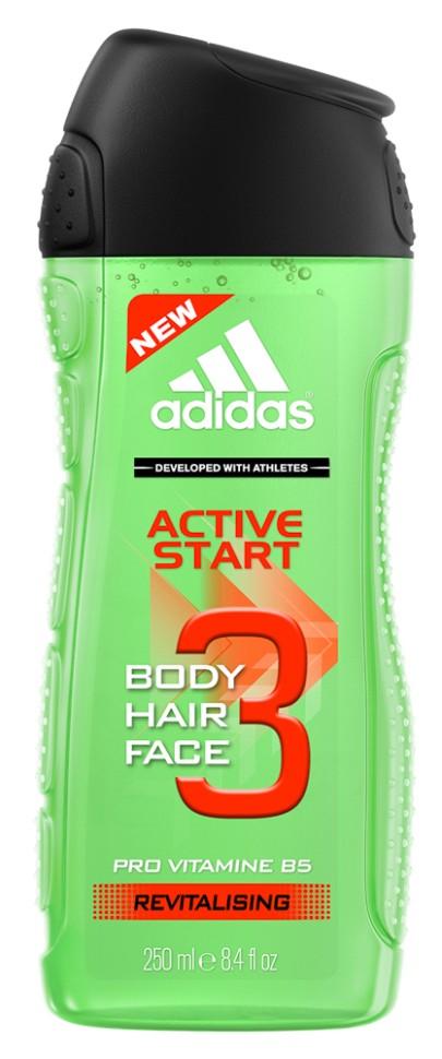 Adidas Shower Gel Male Active start гель для душа муж 250млAdidas<br>Гель для душа эффективно и осторожно очищает и кондиционирует. В состав средства входят минералы, способствующие восстановлению кожи, которые сохраняют натуральный баланс и мягко ухаживает за вашей кожей. Идеальный гель для частого применения.<br>Состав:<br>Aqua/Water/Eau, Sodium Laureth Sulfate, Cocamidopropyl Betaine, Acrylates Copolymer, Parfum/Fragrance, Sodium Chloride, Sodium Hydroxide, Citric Acid, Sodium Benzoate, Disodium EDTA, Ethylhexyl Methoxycinnamate, PEG-150 Pentaerythrityl Tetrastearate, Limonene, Linalool, Hexyl Cinnamal, Citronellol, Polyurethane Crosspolymer-2, Magnesium Nitrate, PEG-6 Caprylic/Capric Glycerides, Butyl Methoxydibenzoylmethane, Ethylhexyl Salicylate, Urea, Acrylamidopropyltrimonium Chloride/Acrylamide Copolymer, Methylisothiazolinone, Methylchloroisothiazolinone, Xanthan Gum, Chlorhexidine Digluconate, Magnesium Chloride, BHT, FD&amp;amp;C Blue No. 1 (CI 42090), D&amp;amp;C Violet No. 2 (CI 60730).<br><br>Вес г: 320<br>Бренд : Adidas<br>Объем мл: 250<br>Страна производитель : Испания