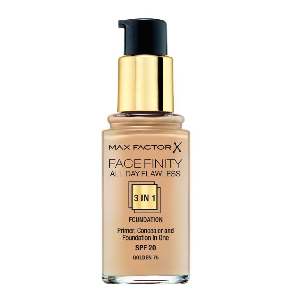 Max Factor тональная основа Facefinity all day flawless 3-in-1 (75 golden)Max Factor<br>Тональная основа Facefinity All Day Flawless 3 в 1 от Макс Фактор соединяет стойкость праймера корректирующие свойства консилера и плотное покрытие жидкой тональной основы с SPF 20.<br>- Безупречность на весь день.<br>- Основа создает базу для стойкости.<br>- Консилер скрывает недостатки кожи.<br>Советы по применению:<br>1. Подбирай тональную основу, нанося небольшое количество на линию челюсти<br>2. Всегда наноси тональную основу при ярком дневном свете, чтобы добиться равномерного покрытия<br>3. Нанеси немного тональной основы на руку, обмакни в нее большую кисть, и обмахни лицо, двигаясь от центра к краям<br>Состав:Вода,циклопентасилоксан, пропиленгликоль, тальк, диметикон, фенилбензимидазол сульфоновой кислоты, алюминий крахмал октенилсукцинат, натрия хлорид, ПЭГ/ППГ-18/18 диметикон, ПВП, бензиловый спирт, феноксиэтанол, гидроксид натрия, этилен/ метакрилатный сополимер, тригидроксистеарин, арахидил бегенат, метикон, диоксид кремния, бензоат натрия, синтетический воск, цетил ПЭГ/ППГ-10/1 диметикон, лауринат гексиловый, полиглицерил-4 изостеарат, изопропиловый триизостеарат титана, этиленбрассилат, полиэтилена, [+/- CI 77891, CI 77492, CI 77491, CI 77499]<br><br>Вес г: 50<br>Бренд : Max Factor<br>Упаковка : с дозатором<br>Тип кожи : все типы кожи<br>Степень покрытия : плотная<br>Эффект от нанесения : выравнивающий<br>Тип тонального средства : основа<br>Страна производитель : Ирландия