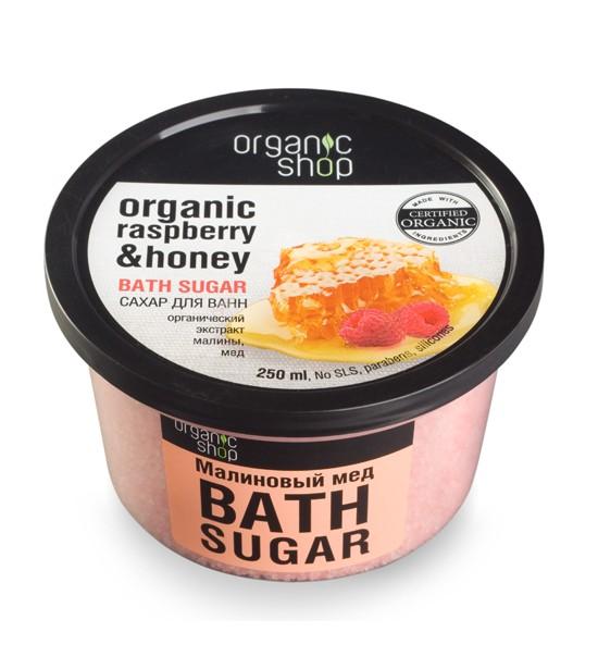 Organic shop Сахар для ванн Малиновый медOrganic shop<br>Позвольте своей коже насладиться обволакивающим ароматом и нежным уходом малинового меда. Сахар для ванн способствует расслаблению и моментальному увлажнению кожи, благодаря органическому экстракту малины и меда, входящим в его состав.ПРИМЕНЕНИЕ: Растворите 4 столовые ложки во всем объеме ванны при температуре 36-38 градусов.Продолжительность приема процедур 10-15 минут.Объем: 250 мл.<br><br>Вес г: 350<br>Бренд: Organic shop<br>Объем мл: 250<br>Страна производитель: Россия
