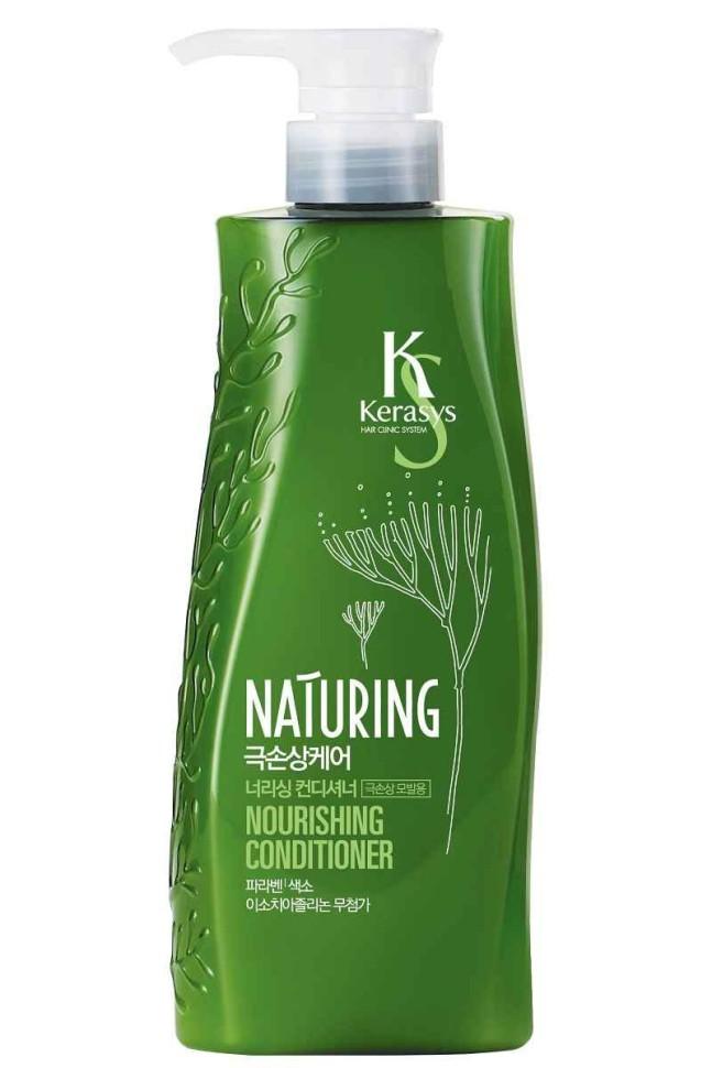 KeraSys Кондиционер для волос Naturing питание с морскими водорослямиKeraSys<br>Kerasys Naturing Nourishing Shampoo шампунь для волос Питание с морскими водорослями, восстанавливает поврежденные волосы, питая и делая их более эластичными, улучшает состояние ломких волос, стимулирует рост волос.<br><br>Вес г: 550<br>Бренд: KeraSys<br>Объем мл: 500<br>Тип волос: поврежденные, тонкие и ослабленные, длинные и секущиеся<br>Действие: питание, восстановление, блеск и эластичность, для роста волос<br>Тип средства для волос: кондиционер<br>Страна производитель: Корея