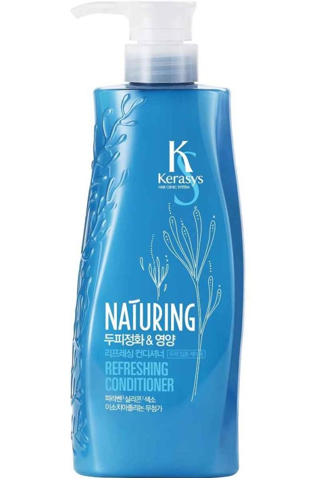 KeraSys Кондиционер для волос Naturing уход за кожей головы с морскими водорослямиKeraSys<br>Основная идея создания линии средств для волос Kerasys Naturing -  и питание кожи головы. Здоровая кожа головы – залог здоровья и красоты волос. Имея в составе максимум натуральных ингредиентов, наполненный природной силой морских минералов Kerasys Naturing улучшает состояние кожи головы, стимулирует рост волос. Волосы обретают жизненную силу и эластичность. Не содержит: Парабены, изотиазолиноны, красители.<br>В составе ПАВы 100% растительного происхождения.<br>Содержит экстракты каулерпы гроздевидной и сине-зеленых водорослей.ЗАЩИТА ВОЛОС ОТ ПАГУБНОГО ВОЗДЕЙСТВИЯ ОКРУЖАЮЩЕЙ СРЕДЫ. Тип волос для проблемной кожи головы.<br>Объем: 500 мл.<br><br>Вес г: 550<br>Бренд: KeraSys<br>Объем мл: 500<br>Тип волос: все типы волос<br>Действие: питание, блеск и эластичность, для роста волос<br>Тип средства для волос: кондиционер<br>Страна производитель: Корея