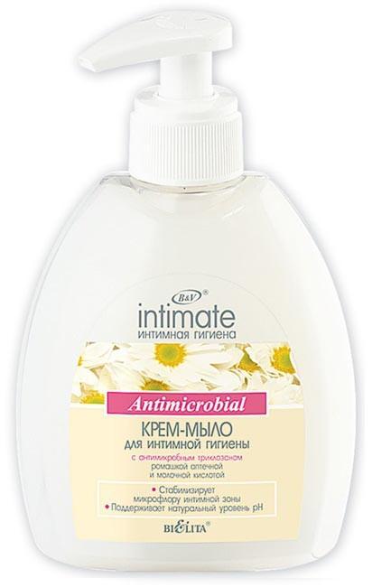 Белита Крем мыло для интимной гигиены с антимикробным триклазаномБелита<br>Бережно очищает, дезодорирует интимные участки тела.<br>Рекомендовано для ежедневного применения.оказывает сбалансированное антимикробное действие<br>поддерживает натуральный уровень pH интимных зон<br>Состав: Бензиловый спирт, метилхлоризотиазолинон, метилизотиазолинон, Вода, Кокамидопропилбетаин, Кокобетаин, Лаурилглюкозид, кокамидопропилбетаин, Молочная кислота, Натрий лауретсульфат, ПЭГ-6 Каприловые/каприновые триглицериды, Парфюмерная композиция, С12-С13 алкиллактат, Сопилимер стирола и акрилатов натрия, Триклозан, Хлорид бензалкония, Хлорид натрия, Экстракт ромашки.<br><br>Вес г: 350<br>Бренд : Белита<br>Объем мл: 300<br>Страна производитель : Белоруссия
