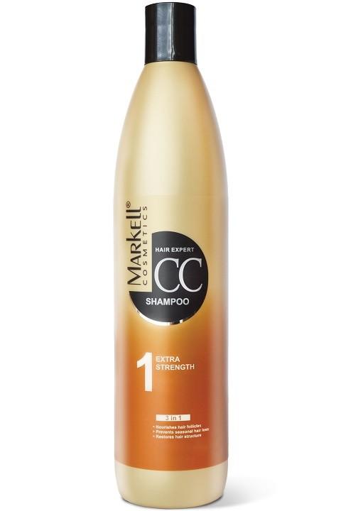 Markell CC-шампунь Экстра-сила для волосMarkell<br>питает корни волосборется с сезонной потерей волосвосстанавливает структуру волосНасыщенный витаминами шампунь эффективно очищает волосы и кожу головы, оздоравливая их и наполняя энергией. Способствует восстановлению структуры волоса пo всей длине после окрашивания и температурного воздействия, защищает и укрепляет волосяные луковицы, восстанавливает нормальный цикл роста волос. Облегчает расчесывание и укладку.Применение: небольшое количество шампуня нанести на влажные волосы, вспенить и помассировать. Оставить на 3-5 минут. Тщательно промыть водой.<br><br>Вес г: 550<br>Бренд : Markell<br>Объем мл: 500<br>Тип волос : окрашенные, тонкие и ослабленные, длинные и секущиеся, все типы волос<br>Действие : укрепление, восстановление, легкое расчесывание, от выпадения волос<br>Тип средства для волос : шампунь<br>Страна производитель : Белоруссия