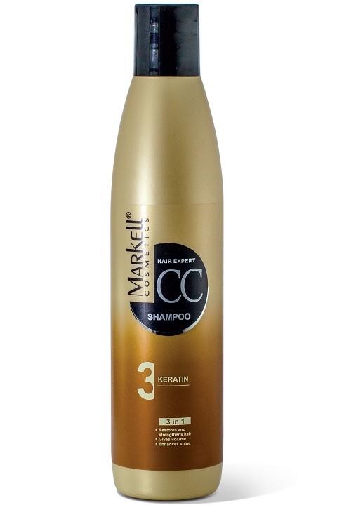 Markell CC-шампунь Кератин для волосMarkell<br>Бережно очищает поврежденные волосы, обволакивает их защитной пленкой и векторно восстанавливает поврежденные участки. Обеспечивает превосходное кондиционирование волос, облегчает расчесывание и укладку, усиливает блеск, придает дополнительный объем, уменьшает статическое электричество. Входящий в состав шампуня кератин, проникая вглубь волоса, восстанавливает его структуру по всей длине, предотвращает сухость, сечение и ломкость.Применение: небольшое количество шампуня нанести на влажные волосы, взбить пену и помассировать. Выдержать 1-2 минуты. Тщательно промыть водой.<br><br>Вес г: 280<br>Бренд: Markell<br>Объем мл: 250<br>Тип волос: поврежденные, окрашенные, тонкие и ослабленные, длинные и секущиеся<br>Действие: восстановление, для объема, блеск и эластичность<br>Тип средства для волос: шампунь<br>Страна производитель: Белоруссия