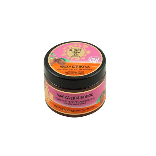 ЛУЧШИЕ РЕЦЕПТЫ МИРА Маска для волос Марокканское масло Арганы 300млЛучшие рецепты мира<br>Аргана – удивительное «дерево жизни» родом из Королевства Марокко. Масло, получаемое из его плодов, по праву называют «золотом Марокко» за его уникальные свойства. Ценное аргановое масло на 80% состоит из незаменимых жирных кислот и содержит высочайшую концентрацию натуральных антиоксидантов. Такое сочетание делает его незаменимым компонентом в уходе за волосами. Средства на основе органического марокканского масла арганы обладают комплексным восстанавливающим и ухаживающим действием, интенсивно увлажняют и питают волосы, делая их необыкновенно сильными по всей длине.<br><br>Вес г: 330<br>Бренд : Лучшие рецепты мира<br>Объем мл: 300<br>Тип волос : все типы волос<br>Действие : питание, восстановление<br>Тип средства для волос : маска<br>Страна производитель : Россия