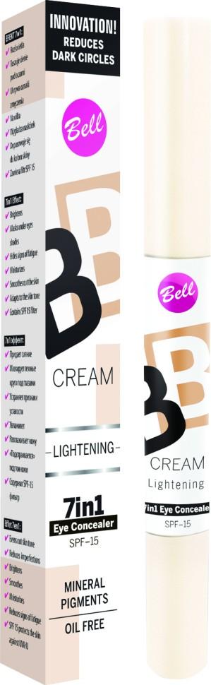 """Bell Корректор светоотражающий BB Cream Lightenning (10 светло-бежевый)Bell<br>В состав корректора входят специальные увлажняющие компоненты, благодаря которым кожа становится более эластичной и увлажненной. Модифицирован кремнеем создает эффект """"Soft Focus"""" - зрительно минимизурующий несовершенства кожи. Корректор содержит фильтр SPF 15, обеспечивающий полную защиту чувствительной и тонкой кожи вокруг глаз.<br>Руководство по выбору:<br>При синяках, отеках под глазами, отсутствии упругости кожи.Способ применения:<br>Нанести тонким слоем лёгкими движениями на кожу вокруг глаз<br>Особенности состава:<br>В состав корректора входят специальные увлажняющие компоненты, благодаря которым кожа становится более эластичной и увлажненной. Модифицирован кремнеем, создает эффект """"Soft Focus"""" - зрительно минимизурующий несовершенства кожи.<br>Состав:<br>Ingredients: Aqua, Cyclopentasiloxane, Cyclohexasiloxane, Zinc Oxide, Titanium Dioxide, Glycerin, PEG/PPG-18/18 Dimethicone, Silica, Sodium Chloride, Stearoyl Inulin, Dimethicone Crosspolymer, Acrylates/Dimethicone Copolymer, Hydrogen Dimethicone, PEG-10 Dimethicone, Hydrated Silica, Polysorbate 80, Tocopheryl Acetate, Sodium Hyaluronate, Aluminum Hydroxide, Ethylhexylglycerin, Dimethicone, Triethoxycaprylylsilane, Trimethoxycaprylylsilane, Parfum, Alpha-isomethyl Ionone, Benzyl Salicylate, Butylphenyl Methylpropional, Hexyl Cinnamal, Hydroxyisohexyl 3-Cyclohexene Carboxaldehyde, Phenoxyethanol, CI 77491, CI 77492, CI 77499, CI 77891<br><br>Вес г: 39<br>Бренд : Bell<br>Объем мл: 4<br>Фактор SPF : 15<br>Вид корректора : жидкий<br>Страна производитель : Польша"""