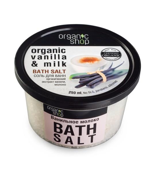 Organic shop Соль для ванн Ванильное молокоOrganic shop<br>Нежная молочная ванна с морской солью и органическим маслом ванили поможет расслабиться, поднимет настроение и придаст коже невероятную гладкость, обволакивая чарующим ароматом цветущей ванили.Объем: 250 млСпособ применения:Растворите 4 столовые ложки соли во всем объёме ванны при температуре 36 - 38 °С. Продолжительность приёма процедуры 10 – 15 минут.<br><br>Вес г: 350<br>Бренд : Organic shop<br>Объем мл: 250<br>Страна производитель : Россия