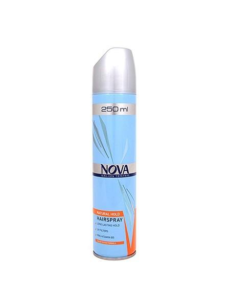 NOVA лак для укладки волос суперсильной фиксации 250мл.Nova<br>Современные компоненты, входящие в состав лака с провитаминами В5, обеспечивают хорошую фиксацию и блеск без видимых следов утяжеления и склеивания волос. Лак фиксирует самые сложные формы и одновременно способствует восстановлению и укреплению поврежденной структуры волос. Питательные добавки придают волосам роскошный, шелковый блеск.<br><br>Вес г: 300<br>Бренд : Nova<br>Объем мл: 250<br>Тип волос : все типы волос<br>Средство стайлинга : лак<br>Степень фиксации : сильная<br>Эффект стайлинга : фиксация