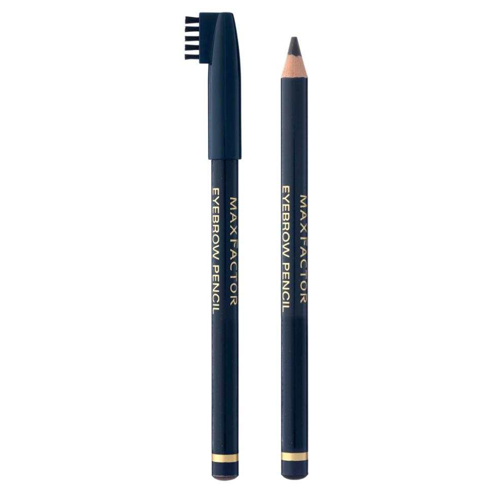 Max Factor карандаш для бровей Eyebrow pencil (01 антрацитовый)Max Factor<br>Карандаш для бровей Max Factor Eyebrow Pencil создан для того, чтобы красиво очертить брови и придать макияжу особое очарование. Благодаря  щеточке, которая идет в комплекте вместе с карандашом, Вы можете ухаживать за своими бровками, придавая им идеальную форму. С карандашом Eyebrow Pencil макияж лица становится законченным, а  брови выглядят естественными и очень красивыми. Даже если Вы не являетесь обладательницей густых и ярких бровей, то карандаш от Макс Фактор исправит эту ситуацию одним взмахом руки.Протестировано офтальмологами и дерматологами. Подходит для чувствительных глаз и тех, кто носит контактные линзы.<br>Способ применения:1. Причеши брови щеточкой сначала вверх, потом - в стороны 2. Выбери остро заточенный карандаш на 1 оттенок темнее своих бровей 3. Наметь контур брови сначала по краям, потом посередине, и начинай подводить 4. Двигайся мелкими движениями по направлению роста волос, чтобы визуально наполнить и сформировать бровь<br>Состав:Гидрогенизированные коко-глицериды, каолин, глицерил рицинолеат, гидрогенизированное пальмовое масло, полиэтилен, слюда, микрокристалиический воск, пропил-парабен, пигметы<br><br>Бренд : Max Factor<br>Цвет : черный<br>Тип средства для бровей : карнадаш с щеточкой<br>Страна производитель : Италия