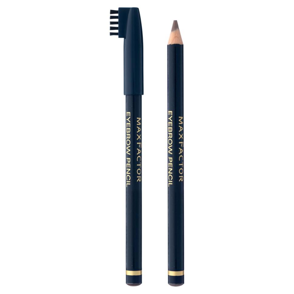 Max Factor карандаш для бровей Eyebrow pencil (02 темно-коричневый)Карандаш для бровей Max Factor Eyebrow Pencil создан для того, чтобы красиво очертить брови и придать макияжу особое очарование. Благодаря  щеточке, которая идет в комплекте вместе с карандашом, Вы можете ухаживать за своими бровками, придавая им идеальную форму. С карандашом Eyebrow Pencil макияж лица становится законченным, а  брови выглядят естественными и очень красивыми. Даже если Вы не являетесь обладательницей густых и ярких бровей, то карандаш от Макс Фактор исправит эту ситуацию одним взмахом руки.Протестировано офтальмологами и дерматологами. Подходит для чувствительных глаз и тех, кто носит контактные линзы.<br>Способ применения:1. Причеши брови щеточкой сначала вверх, потом - в стороны 2. Выбери остро заточенный карандаш на 1 оттенок темнее своих бровей 3. Наметь контур брови сначала по краям, потом посередине, и начинай подводить 4. Двигайся мелкими движениями по направлению роста волос, чтобы визуально наполнить и сформировать бровь<br>Состав:Гидрогенизированные коко-глицериды, каолин, глицерил рицинолеат, гидрогенизированное пальмовое масло, полиэтилен, слюда, микрокристалиический воск, пропил-парабен, пигметы<br><br>Бренд : Max Factor<br>Цвет : коричневый<br>Тип средства для бровей : карнадаш с щеточкой<br>Страна производитель : Италия