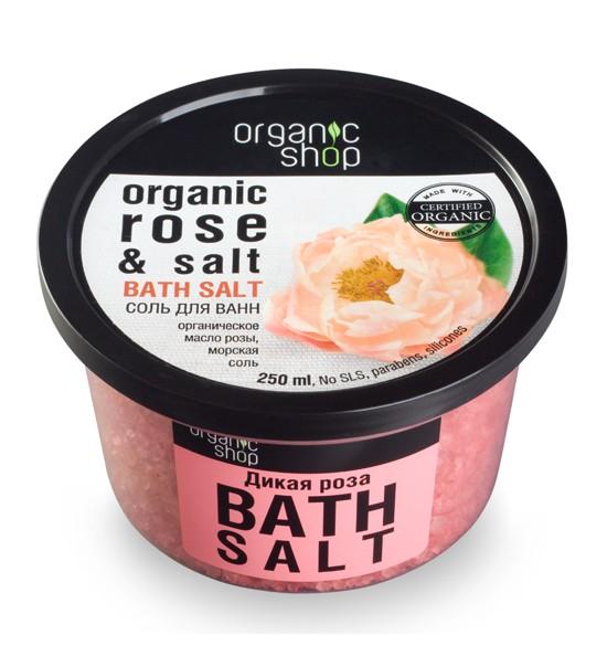 Organic shop Соль для ванн Дикая розаOrganic shop<br>Принять ванну из роз и пробудить романтическое настроение иногда просто необходимо! Идеальное сочетание органического масла розы и морской соли придает коже эластичность и нежный чувственный аромат.Объем: 250 млСпособ применения:Растворите 4 столовые ложки соли во всем объёме ванны при температуре 36 - 38 °С. Продолжительность приёма процедуры 10 – 15 минут.<br><br>Вес г: 350<br>Бренд: Organic shop<br>Объем мл: 250<br>Страна производитель: Россия