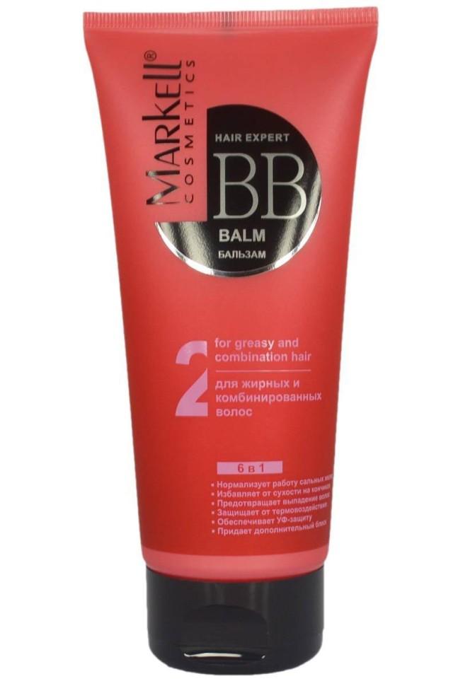 Markell ВВ-бальзам для жирных и комбинированных волосMarkell<br>Нормализует работу сальных желез<br>Избавляет от сухости на кончиках<br>Предотвращает выпадение<br>Защищает от термовоздействия<br>Обеспечивает УФ -защиту<br>Придает дополнительный блеск<br>Инновационная формула ВВ-бальзама для жирных и комбинированных волос направлена на усиленное питание, восстановление стержня волоса и нормализацию действия сальных желез, стимулирует кровообращение и обмен веществ в волосяных луковицах. Комплекс витаминов А, Е и F обеспечивает питание волосам от корней до самых кончиков. Протеиновый комплекс интенсивно стимулирует рост волос. Формула бальзама формирует на поверхности волоса защитную пленку, которая не позволяет структуре волоса разрушаться под действием солнечных лучей. Бальзам облегчает расчесывание волос, придавая им ослепительный блеск и объем.<br><br>Вес г: 220<br>Бренд : Markell<br>Объем мл: 200<br>Тип волос : жирные, смешанные<br>Действие : питание, восстановление, для объема, легкое расчесывание, блеск и эластичность, УФ защита, термозащита, от выпадения волос, для роста волос<br>Тип средства для волос : бальзам<br>Страна производитель : Белоруссия