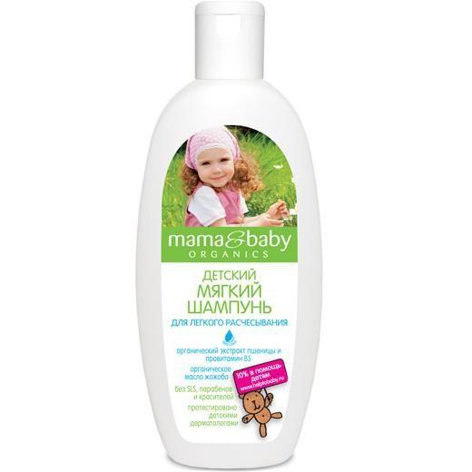 Mama&amp;Baby Шампунь мягкий Для легкого расчесывания 300 мл.Mama&amp;baby<br>Мягкий шампунь Mama&amp;amp;Baby создан специально для непослушных детских волос. Органическое масло жожоба улучшает структуру волоса, делая расчесывание простым и приятным. Провитамин B5 обладает укрепляющим эффектом, а экстракт пшеницы питает и насыщает волосы витаминами. <br>Безопасная формула не содержит SLS, парабенов и красителей, бережно очищает волосы, не щиплет глазки.<br><br>Вес г: 350<br>Бренд : Mama&amp;Babу<br>Объем мл: 300<br>Страна производитель : Россия