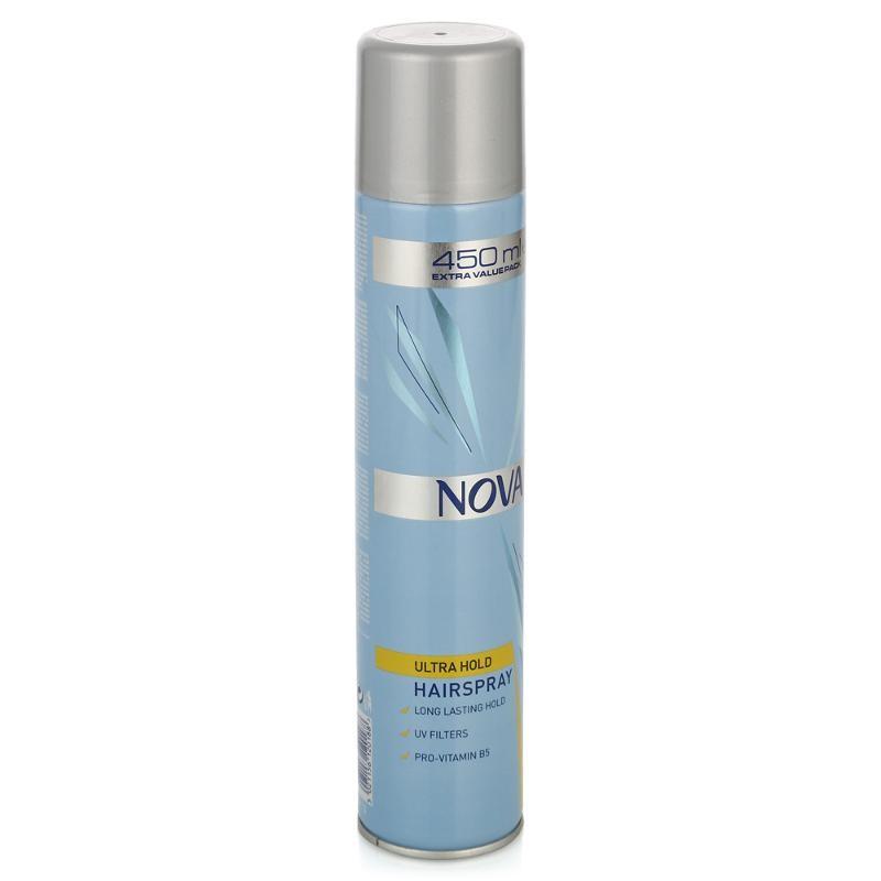 NOVA Лак для укладки волос сверхсильной фиксации 450мл.Nova<br>Nova - лак для стойкой сверхсильной фиксации волос. Обеспечивает идеальную естественную укладку с улучшенной фиксацией, которая держится много часов. Благодаря UV-отражающим частицам в составе лака волосы становятся заметно более блестящими уже после первого применения. Лак для волос Nova быстро высыхает, не пересушивая волосы, легко удаляется при расчесывании и защищает волосы от воздействия солнечных лучей.<br><br>Вес г: 480<br>Бренд : Nova<br>Объем мл: 450<br>Тип волос : все типы волос<br>Страна производитель : Великобритания<br>Средство стайлинга : лак<br>Степень фиксации : сверхсильная<br>Эффект стайлинга : фиксация