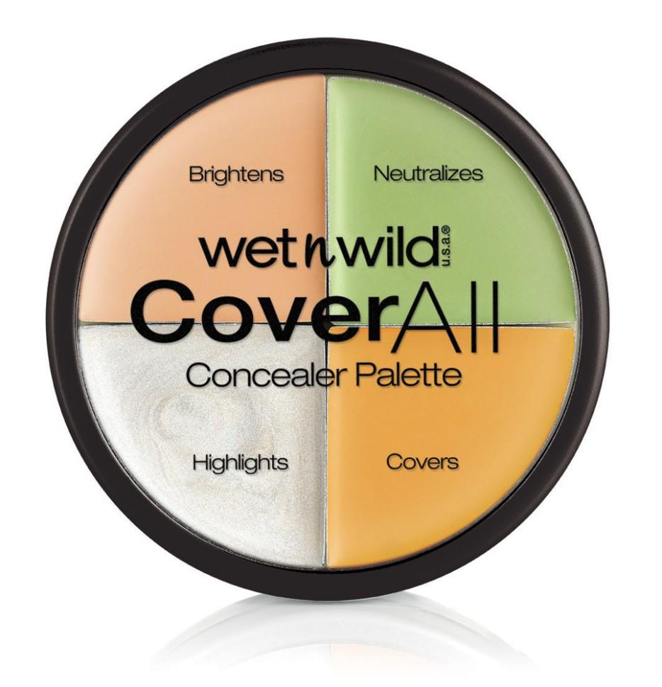 Wet n Wild Набор корректоров для лица (4 Тона) Coverall Concealer Palette Набор E61462Wet n Wild<br>Набор корректоров уравновешивает все недостатки: розовый и желтый напротив друг друга на цветовом круге, поэтому используйте желтый, чтобы скрыть любые нежелательные розовые пятна, любые чрезмерно желтые пятна скрываем розовым.Способ применения:<br>аккуратно нанести на места, требующие коррекции, растушевать пальчиками.<br>Состав:<br>Caprylic/Capric Triglyceride, Octyldodecanol, Nylon-12, Copernicia Cerifera (Carnauba) Wax/Copernicia Cerifera Cera, Euphorbia Cerifera (Candelilla) Wax/Candelilla Cera, Polyethylene, Kaolin, Methyl Methacrylate Crosspolymer, Jojoba Esters, Menthol, Phenoxyethanol, Fragrance/Parfum, Allantoin, Talc, Sorbic Acid, Tocopherol, Tocopheryl Acetate, Benzyl Alcohol, Benzyl Salicylate, Coumarin, Geraniol, Hydroxycitronellal, Hydroxyisohexyl 3-Cyclohexene Carboxyaldehyde, Benzyl Benzoate, Citronellol, Hexyl Cinnamal, Linalool, Alpha-Isomethyl Ionone, Evernia Furfuracea Extract, [+/- (May Contain): Blue 1 Lake/CI 42090, Iron Oxides/CI 77491, CI 77492, CI 77499, Mica, Titanium Dioxide/CI 77891, Zinc Oxide/CI 77947, Ultramarines/CI 77007, Yellow 5 Lake/CI 19140.<br><br>Вес г: 64<br>Бренд : Wet&amp;Wild<br>Объем мл: 6<br>Вид корректора : кремовый<br>Страна производитель : Китай