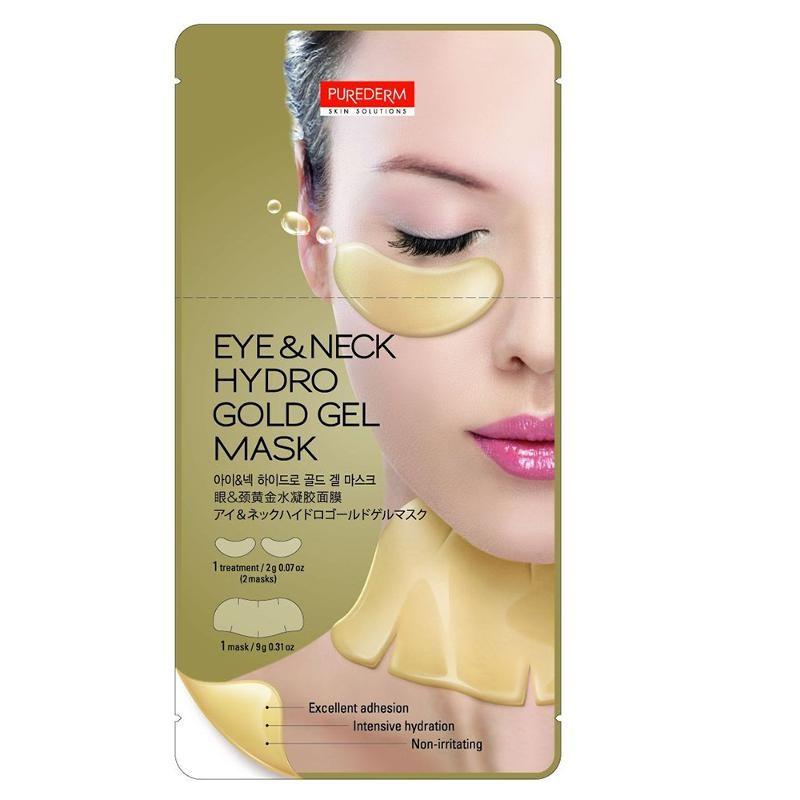 PUREDERM Маска 2в1 Маска для области глаз и шеи 2гр+маска с Золотом 9грPurederm<br>Основа маски сделана из настоящей рисовой бумаги, наилучшим образом уменьшает раздражение кожи и помогает порам практически полностью впитать ценные компоненты сыворотки, которой пропитывается основа маски. Основа маски- экологически чистая рисовая бумага поможет избежать раздражения кожи, чувствительной к синтетическим материалам. Пропитанная сывороткой рисовая бумага идеально облегает лицо, обладает высокой эластичностью, оказывает эффективное лифтинговое действие, после применения оставляет кожу нежной и подтянутой. Активные ингредиенты: ферментированный рисовый экстракт, мультизерновой комплекс (коричневый рис, ячмень, мак и экстракт гречихи), Бобовый комплекс (черные бобы, черный кунжут, экстракт черного риса). Основной компонент маски- рис- содержит большое количество витаминов и минералов, Витамин Е. Большая концентрация гамма оризанола, содержащаяся в зародышах риса, активирует клетки кожи и приостанавливает процессы старения кожи, помогая ей долгое время выглядеть молодой и здоровой. В комплект для приготовления маски входит: рисовая бумага по форме маски для лица, специальный пластиковый контейнер и сыворотка для пропитки маски.  Способ применения  1. Тщательно очистите и высушите кожу лица 2. Откройте упаковку, выньте пластиковый лоток с основой маски из рисовой бумаги. Откройте лоток, далее откройте саше с рисовой сывороткой (пакет с сывороткой находится внутри пакета с маской) и выдавите сыворотку в пластиковый лоток равномерно, чтобы покрыть всю поверхность основы маски из рисовой бумаги.  3. Закройте лоток и дайте маске пропитаться в течение 40-60 секунд или до тех пор, пока рисовая бумага полностью не пропитается сывороткой.  4. Выньте пропитанные листы рисовой бумаги из лотка. Аккуратно приложите верхнюю и нижнюю части маски на лицо поочередно.  5. Через 15~20 минут аккуратно снимите обе половины маски, потянув за края. Мягкими массажными движениями вотрите остатки сы