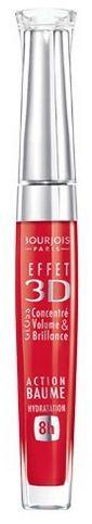 Bourjois Блеск для губ Effet 3D 8h (№54 матовый нежно-красный)Макияж<br>Bourjois Блеск для губ Effet 3D 8h увлажняет губы.Увлажнение в течение 8 часов и действие бальзама.3 измерения на губах: сияние, объем и цвет! Сегодня к великолепному блеску добавляется новое качество измерение заботы! Формула нового блеска для губ Bourjois 3d содержит микрокристаллические воски для интенсивного сияния и 92% увлажняющих и защищающих компонентов для «эффекта бальзама и 8 часов увлажнения». Наряду с маслами и восками в состав добавлены антиоксиданты - производные витаминов C и E, усиленные минеральным комплексом для интенсивной защиты чувствительной кожи губ. Формула не содержит парабенов. <br>Успешная комбинация объёмного геля и микрокристаллических восков обеспечивает захватывающий эффект, отражающий больше, чем зеркало! <br>Новый блеск делает губы глянцевыми и чувственными, заботясь также об их комфорте и увлажнении!Cостав: C10-30 Cholesterol/Lanosterol Esters, Polybutene, Octyldodecanol, Diisostearyl Malate, Silica Dimethyl Silylate, Calcium Aluminum Borosilicate, Cera Microcristallina (Microcrystalline Wax), Silica, 1,2-Hexanediol, Caprylyl Glycol, Parfum (Fragrance), PEG-8, Tocopherol, Benzyl Alcohol, Linalool, Geraniol, Ascorbyl Palmitate, Alpha-Isomethyl Ionone, Citronellol, Ascorbic Acid, Citric Acid, BHT, Ethylene/Propylene Copolymer, Polyethylene [+/- (May Contain): CI 12085 (Red 36), CI 15850 (Red 6), CI 15850 (Red 7 Lake), CI 15985 (Yellow 6 Lake), CI 17200 (Red 33), CI 19140 (Yellow 5 Lake), CI 42090 (Blue 1 Lake), CI 45380 (Red 22 Lake), CI 45410 (Red 28 Lake), CI 47005 (Yellow 10 Lake), CI 73360 (Red 30 Lake), CI 75470 (Carmine), CI 77002 (Alumina), CI 77019 (Mica), CI 77163 (Bismuth Oxychloride), CI 77491, CI 77492, CI 77499 (Iron Oxides), CI 77742 (Manganese Violet), CI 77861 (Tin Oxide), CI 77891(Titanium Dioxide)].<br><br>Вес г: 20<br>Бренд : Bourjois<br>Форма блеска : с кисточкой<br>Вид блеска : глянцевый<br>Объем мл: 5<br>Страна производитель : Франция