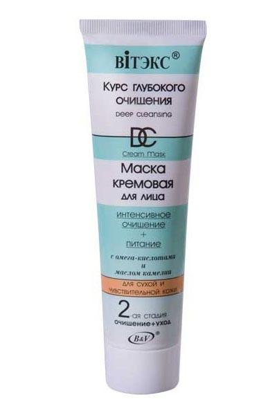 Витэкс Маска кремовая для лица интенсивное очищение питание для сухой и чувствительной кожиВитэкс<br>Кремовая маска предназначена для глубокого очищения сухой и чувствительной кожи лица.Содержит 3-6-9 омега-кислоты, уникальные масла камелии и персика, белую глину, глицерин, которые очищают и питают кожу, делают ее гладкой и упругой.Чистая и свежая кожа всегда!Применение:Нанесите кремовую маску толстым слоем на очищенную кожу лица и оставьте на 15-20 минут. Удалите остатки маски теплой водой.Используйте 1 раз в неделю.<br><br>Вес г: 120<br>Бренд : Витэкс<br>Объем мл: 100<br>Тип кожи : сухая, чувствительная<br>Консистенция маски : кремообразная<br>Часть лица : лицо<br>По времени суток : дневной уход<br>Назначение маски : питательная, очищающая<br>Страна производитель : Белоруссия