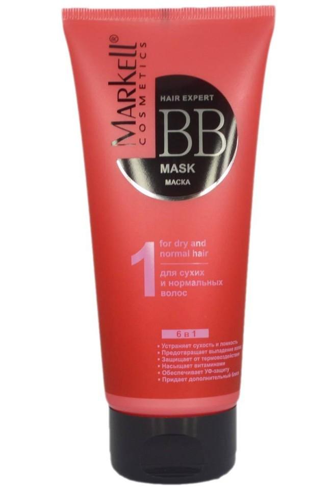 Markell ВВ-маска для сухих и нормальных волосBB-Маска для сухих и нормальных волос серии Hаir Expert BB Уход от Markell обладает комплексным эффектом 6 в 1: устраняет сухость и ломкость, предотвращает выпадение, защищает от термовоздействия, насыщает витаминами, обеспечивает УФ защиту, придает дополнительный блеск.придаёт блеск, мягкость волосам и облегчает укладку<br>равномерно распределяется по поверхности волоса, обволакивает его стержень и приглаживает чешуйки<br>уменьшает вредное воздействие высокой температуры на волосы при укладке волос<br>используется для придания блеска волосам в составе лаков для волос, кондиционеров и других средствах по уходу за волосами.<br>питание. Интенсивно питает и увлажняет волосы, насыщает волосяные луковицы необходимыми витаминами и микроэлементами.<br>насыщение витаминами: комплекс витаминов А, Е и Ф обеспечивает питание волосяных луковиц, заживляет микроповреждения кожи, стимулирует Масло авокадо и масло бабассу рост волос.<br>устранение ломкости волос и секущихся кончиков: Keravis (гидролизованный протеин) восстанавливает структуру волос изнутри, лечит секущиеся кончики, предотвращает их ломкость, интенсивно питает и возвращает волосам упругость и эластичность.<br>выпадение волос: Tricholastyl предназначен для укрепления волосяных луковиц, предотвращения выпадения волос, нормализации их жизненного цикла.<br>УФ-защита. Входящий в состав бальзама УФ-фильтр формирует на поверхности волоса защитную пленку, которая не позволяет структуре волос разрушаться под действием солнечных лучей.<br><br>Вес г: 220<br>Бренд : Markell<br>Объем мл: 200<br>Тип волос : сухие, нормальные, смешанные, длинные и секущиеся<br>Действие : питание, блеск и эластичность, УФ защита, термозащита, от выпадения волос, для роста волос<br>Тип средства для волос : маска<br>Страна производитель : Белоруссия