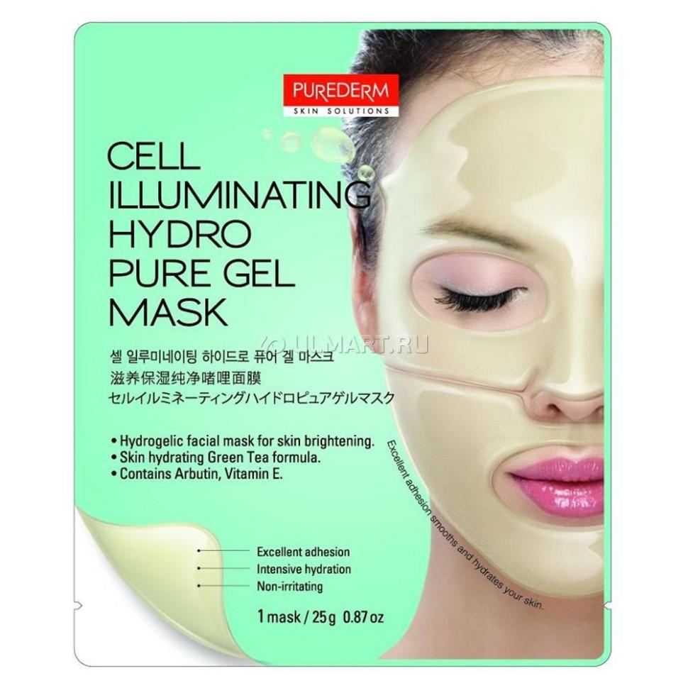 PUREDERM Маска гидрогелевая для сияния кожи 25грPurederm<br>Интенсивный уход  для кожи лица на основе гидрогеля. В состав маски входит активный комплекс увлажняющих компонентов: Арбутин, Экстракт Зеленого Чая, Витамин Е, Бета-глюкан, а также смягчающие компоненты для выравнивания тона кожи, осветления пигментных пятен, придания коже идеально сияющего цвета. Благодаря плотному прилеганию активные компоненты глубоко проникают в кожу, насыщают и питают ее. По мере того, как активные ингредиенты проникают в кожу, маска становится тоньше.  Способ применения  1. Тщательно очистите кожу лица. 2. Откройте пакет, достаньте верхнюю и нижнюю часть маски, удалите пластиковые защитные пленки с обеих сторон маски.  3. Приложите маску на кожу верхней части лица, а затем на нижнюю часть. Аккуратно разгладьте кончиками пальцев пузырьки воздуха, образовавшиеся под маской.  4. Через 20-30 минут снимите обе части маски поочередно, легко потянув за край, остатки средства мягко вмассируйте в кожу. Не смывайте.  Состав  Water (Aqua), Glycerin, Butylene Glycol,Triethylhexanoin, Ceratonia Silliqua Gum, Xanthan Gurn, PEG-60 Hydrogenated Castor Oil, Agar, Carbomer, Allantoin, Beta-Glucan, Arnutin, Camellia Sinensis Leaf Extract, Cetearyl Isononanoate, Ceteareth-20, Tocopheryl Acetate, Disodium EDTA, Glyceryl Stearate, Ceteareth-12, Cetearyl Alcohol, Cetyl Palmitate, Chromium Oxide Greens, Citric Acid, Benzoic Acid, Methylparaben, Propylparaben, Fragrance (Parfum)<br><br>Вес г: 20<br>Бренд: Purederm<br>Тип кожи: все типы кожи<br>Консистенция маски: гидролевая<br>Часть лица: лицо<br>По времени суток: дневной уход<br>Назначение маски: увлажняющая, питательная, отбеливающая, выравнивающая<br>Страна производитель: Корея