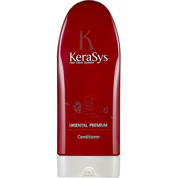 KeraSys Кондиционер для волос Oriental (200 мл)KeraSys<br>Чтобы обеспечить красоту и здоровье волос, регулярного мытья даже с использованием высококачественного шампуня не достаточно. KeraSys Oriental Premium – уникальный кондиционер с натуральным составом, способный сделать ваши волосы упругими, эластичными и шелковистыми. Известный корейский бренд KeraSys в очередной раз удивляет своих поклонниц, воплощая в кондиционере Oriental Premium все наилучшие свойства, которыми должны обладать натуральная и высокоэффективная косметика.  Кондиционер для волос KeraSys Oriental Premium, отзывы о котором подтверждают его популярность и востребованность на рынке стран СНГ, содержит в своем составе масло камелии, обладающее уникальными свойствами:  натуральное растительное масло способно проникать глубоко внутрь локонов, укрепляя волосяные луковицы и восстанавливая кутикулу;  благодаря регулярному использованию кондиционера для ухода за волосами Oriental Premium масло камелии обеспечивает устранение ломкости и сухости локонов;  целебное масло обладает кондиционирующим и разглаживающим действием, надежно защищает волосы от негативного воздействия ультрафиолетовых лучей.  Положительные отзывы о KeraSys Oriental Premium обусловлены использованием в составе кондиционера экстрактов шести чудодейственных трав Востока. Так, косметическое средство для ухода за волосами содержит экстракт женьшеня, орхидеи, жгун-корня, ангелики, листьев камелии и граната.  Отзывы специалистов о кондиционере Oriental Premium от корейского производителя KeraSys подтверждают, что регулярное его использование обеспечивает несомненную пользу сухим поврежденным локонам, ослабленным из-за длительного пребывания на солнце, неправильного ухода, химических завивок, многократных окрашиваний и т.д.  Решив купить продукцию известного корейского бренда KeraSys, вы сможете лично оценить все преимущества использования кондиционера Oriental Premium. Тестирования, проводимые лучшими специалистами дерматологической сферы СШ