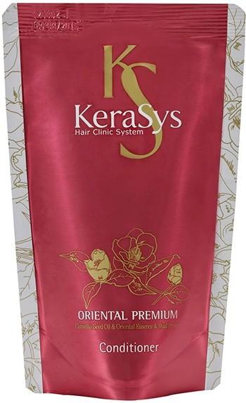 KeraSys Кондиционер для волос Oriental (Запаска 500 мл)KeraSys<br>Чтобы обеспечить красоту и здоровье волос, регулярного мытья даже с использованием высококачественного шампуня не достаточно. KeraSys Oriental Premium – уникальный кондиционер с натуральным составом, способный сделать ваши волосы упругими, эластичными и шелковистыми. Известный корейский бренд KeraSys в очередной раз удивляет своих поклонниц, воплощая в кондиционере Oriental Premium все наилучшие свойства, которыми должны обладать натуральная и высокоэффективная косметика.  Кондиционер для волос KeraSys Oriental Premium, отзывы о котором подтверждают его популярность и востребованность на рынке стран СНГ, содержит в своем составе масло камелии, обладающее уникальными свойствами:  натуральное растительное масло способно проникать глубоко внутрь локонов, укрепляя волосяные луковицы и восстанавливая кутикулу;  благодаря регулярному использованию кондиционера для ухода за волосами Oriental Premium масло камелии обеспечивает устранение ломкости и сухости локонов;  целебное масло обладает кондиционирующим и разглаживающим действием, надежно защищает волосы от негативного воздействия ультрафиолетовых лучей.  Положительные отзывы о KeraSys Oriental Premium обусловлены использованием в составе кондиционера экстрактов шести чудодейственных трав Востока. Так, косметическое средство для ухода за волосами содержит экстракт женьшеня, орхидеи, жгун-корня, ангелики, листьев камелии и граната.  Отзывы специалистов о кондиционере Oriental Premium от корейского производителя KeraSys подтверждают, что регулярное его использование обеспечивает несомненную пользу сухим поврежденным локонам, ослабленным из-за длительного пребывания на солнце, неправильного ухода, химических завивок, многократных окрашиваний и т.д.  Решив купить продукцию известного корейского бренда KeraSys, вы сможете лично оценить все преимущества использования кондиционера Oriental Premium. Тестирования, проводимые лучшими специалистами дерматологической 