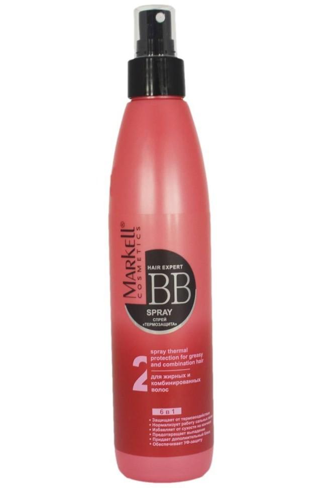 Markell ВВ-спрей Термозащита для жирных и комбинированных волосMarkell<br>BB-Спрей Термозащита для жирных и комбинированных волос серии Hair Expert BB Уход от Markell обладает комплексным эффектом 6 в 1: защищает от термовоздействия, нормализует работу сальных желез, избавляет от сухости на кончиках, предотвращает выпадение, придает дополнительный блеск, обеспечивает УФ защиту.Активные компоненты:Высокоактивный компонент Escalol HP защищает волосы от негативных изменений, вызванных действием солнечных лучей, обладает кондиционирующим действием, улучшает расчесываемость волос.<br>Комплекс растительных экстрактов (анютины глазки, мелисса, вереск, липа, мыльнянка, лопух и др.) нормализует работу сальных желез и способствует уменьшению излишней жирности, восстанавливает поврежденные волосы и предотвращает их преждевременное выпадение.<br>TricholastylTM активный компонент, полученный из коры индийского дерева Байджака, продлевает жизненный цикл волос, замедляет процессы, приводящие к преждевременному старению кожи головы, препятствует потери эластичности волос.<br><br>Вес г: 280<br>Бренд: Markell<br>Объем мл: 250<br>Тип волос: жирные, смешанные<br>Действие: восстановление, легкое расчесывание, блеск и эластичность, УФ защита, термозащита, от выпадения волос<br>Тип средства для волос: спрей<br>Страна производитель: Белоруссия
