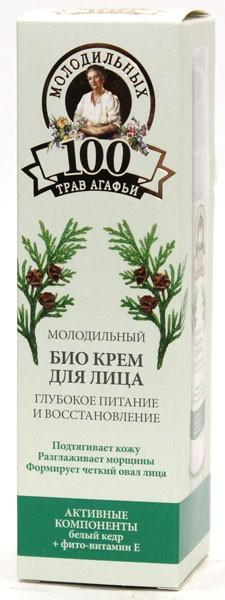 100 молодильных трав Агафьи Крем-БИО для лица Глубокое питание и ВосстановлениеКедр – могучее дерево - долгожитель. Из ядер кедровых орехов выжимают ценное масло, богатое витаминами, микроэлементами и антиоксидантами. В нем в 5 раз больше витамина Е, чем в оливковом масле и в 3 раза больше витамина А, чем в шиповнике, это делает его незаменимым в уходе за зрелой кожей.<br><br>Вес г: 60<br>Объем мл: 50<br>Тип кожи : все типы кожи<br>Консистенция : крем<br>Тип крема : увлажняющий, питательный, антивозрастной, восстанавливающий<br>Возраст : 25+, 30+, 35+, 40+<br>Эффект : эластичность, сокращает морщины<br>По времени суток : дневной уход<br>Страна производитель : Россия