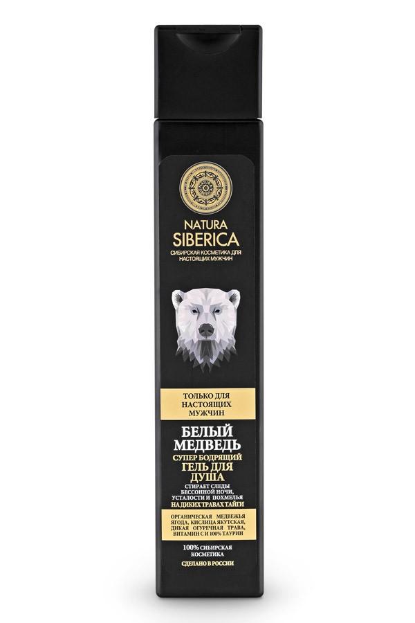 Натура Сиберика гель для душа бодрящий Белый медведь 250млМужская серия<br>Стирает следы бессонной ночи, усталости и похмельяСупер бодрящий гель для душа «Белый медведь» создан для настоящих мужчин – сильных, смелых и уверенных в себе! Его сила и мощь, заключается в дикорастущий травах Сибири, которые обладают мощнейшим энергетическим потенциалом, столь необходимым для современных мужчин, ведущих активный образ жизни.Органическая медвежья ягода, насыщенная дубильными веществами, эффективно очищает кожу, питая и тонизируя ее. Кислица якутская мгновенно пробуждает и дарит заряд бодрости на весь день. Огуречная трава освежает и тонизирует, стимулирует регенерацию клеток, интенсивно увлажняет. Витамин С  заряжает энергией, повышает упругость и эластичность кожи, в то время как 100% таурин восстанавливает силы, снимая усталость и напряжение.Супер бодрящий гель для душа «Белый медведь» - уникальное средство, которое не только отлично очищает, увлажняет кожу, но и эффективно снимает усталость, стирает следы бессонницы, спасает в сложные минуты расплаты за бурно проведенную ночь, заряжая энергией на весь день! Гарантированный результат*:100% ощущение свежести в течение дняНа 99% более ухоженная и здоровая кожаНа 98% больше сил и энергии<br><br>Вес г: 270<br>Бренд: Натура Сиберика<br>Объем мл: 250<br>Страна производитель: Россия