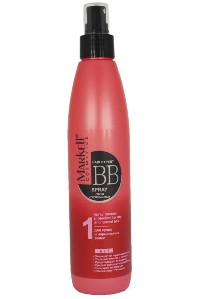 Markell ВВ-спрей Термозащита для сухих и нормальных волосMarkell<br>Cпрей Термозащита для сухих и нормальных волос специально разработан для защиты волос от термического повреждения во время укладки феном, плойкой, утюжком. Инновационная формула средства придает волосам дополнительный блеск и шелковистость, облегчает расчесывание и укладку. Масло бабасу восстанавливает структуру поврежденных волос, смягчает, оживляет, предотвращает сечение ломких, сухих и безжизненных волос.6 в 1 !Защищает от термовоздействияУстраняет сухость и ломкостьПредотвращает выпадениеПридает дополнительный блескНасыщает витаминамиОбеспечивает УФ - защитуПрименение: равномерно нанести спрей на чистые волосы, распределить по всей длине (наносить средство можно как на влажные, так и на сухие волосы).<br><br>Вес г: 280<br>Бренд : Markell<br>Объем мл: 250<br>Тип волос : сухие, нормальные, смешанные, поврежденные, тонкие и ослабленные<br>Действие : восстановление, легкое расчесывание, блеск и эластичность, УФ защита, термозащита, от выпадения волос<br>Тип средства для волос : спрей<br>Страна производитель : Белоруссия