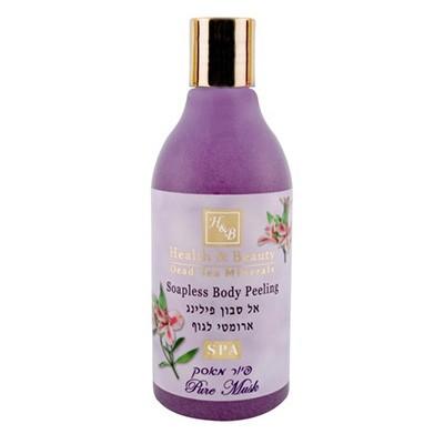 Health&amp;Beauty Пилинг для тела без мыла с витамином Е МускусHealth&amp;Beauty<br>Идеальное сочетание пилинг-мыла и геля для душа оставляет кожу тела здоровой и свежей, эффективно отшелушивает омертвевшие клетки кожи, улучшает циркуляцию кислорода в коже и оставляет ее мягкой, бархатистой и подготовленной к поглощению полезных веществ из крема. Подходит для подготовки кожи к эпиляции или загару. При регулярном использовании пилинг предотвращает старение кожи и улучшает ее внешний вид, рекомендуется для ежедневного использования для ухода за руками и отбеливания, обеспечивает прекрасный чувственный аромат. Обогащен уникальными растительными экстрактами и минералами Мертвого моря.<br><br>Вес г: 350<br>Бренд : Health &amp; Beauty<br>Объем мл: 300<br>Страна производитель : Израиль