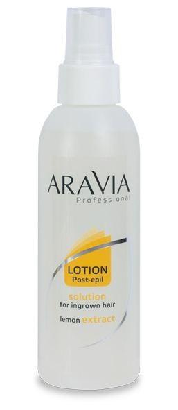 Aravia Лосьон против вросших волос с экстрактом лимона 150млAravia<br>Назначение: специальный межпроцедурный уход за кожей, профилактика врастания волосАктивные компоненты: глицерин, масло лимона, гликолевая кислота, салициловая кислотаРегулярное применение лосьона предупреждает появление вросших волос, неровностей, покраснения и других раздражений кожи, которые могут иногда возникать после депиляции. Мягко дезинфицирует кожу, при этом не провоцируя сухость. При регулярном нанесении препарат успокаивает и восстанавливает кожу.Способ применения: наносить непосредственно на кожу или нетканую салфетку, распределить круговыми движениями до полного впитывания.Примечание: лосьон подходит для любого участка тела: область бикини, ног, рук и т.д. Начинать применение через 24 часа после процедуры депиляции.<br><br>Вес г: 200<br>Бренд: Aravia<br>Объем мл: 150<br>Тип кожи: все типы кожи<br>Тип средства для депиляции: против вросших волос, после депиляции<br>Страна производитель: Россия