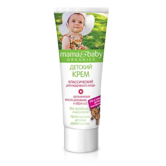 Mama&amp;Baby Крем классический ежедневный уход 75 млMama&amp;baby<br>Классический детский крем Mama&amp;amp;Baby для ежедневного ухода надежно защищает кожу Вашего ребенка. Безопасная формула не содержит парабенов и красителей.<br>Органические масла шиповника и абрикоса питают и увлажняют кожу. Крем легко наносится и быстро впитывается.<br><br>Вес г: 100<br>Бренд : Mama&amp;Babу<br>Объем мл: 75<br>Страна производитель : Россия