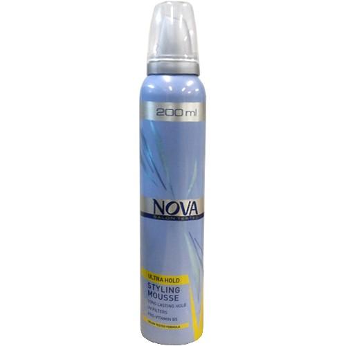 NOVA Мусс для укладки волос сверхсильной фиксации 200млNova<br>Мусс для волос сверхсильной фиксации Nova, 200 мл (желтый).<br>Надежно фиксирует прическу и ухаживает за волосами во время укладки. Не склеивает волосы и облегчает расчесывание. Средство хорошо защищает волосы от негативных внешних воздействий. Надолго сохраняет качество укладки и придает прическе объем.<br><br>Вес г: 250<br>Бренд : Nova<br>Объем мл: 200<br>Тип волос : все типы волос<br>Страна производитель : Великобритания<br>Средство стайлинга : мусс<br>Степень фиксации : сверхсильная<br>Эффект стайлинга : фиксация