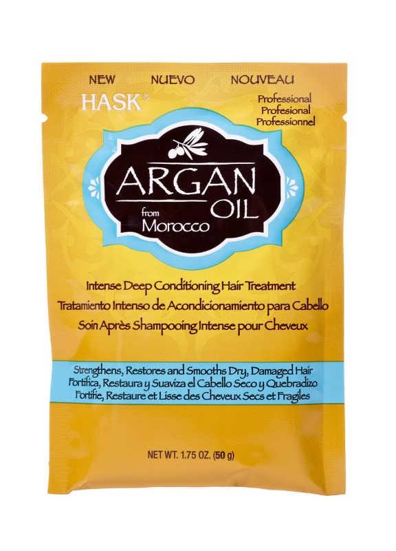 HASK Маска восстанавливающая для волос с Аргановым маслом 50грHask<br>Укрепляет, восстанавливает и разглаживает сухие, повреждённые волосыНе содержит сульфаты, парабены, фталаты, клейковину (глютен), спирт и искусственных красителей.Глубоко восстанавливающий и глубоко проникающий интенсивный <br>кондиционер маска с Маслом Аргана. Маска с помощью кератина усиливает и <br>увлажняет волосы, позволяет восстановить и разгладить (сделать ровными) <br>сухие, поврежденные, окрашенные и иным образом химически обработанные <br>волосы. Аргана масло, уникальный продукт из Марокко, известно своими <br>высокими абсорбирующими свойствами, глубоко проникает вглубь волоса, <br>заполняет и питает даже самые поврежденные волосы, смягчая и увлажняя <br>их. Побалуйте свои волосы этим питательным глубоко очищающим и <br>насыщающим кондиционером, созданным, чтобы снова вдохнуть жизнь в <br>обессиленные и обезвоженные волосы!Рекомендации по применению: Нанести достаточное количество маски для <br>восстановления волос с аргановым маслом на влажные волосы. Массирующими <br>движениями вотрите масло в волосы, делая упор на поврежденные <br>участки. Оставьте впитываться на 10 минут, затем тщательно смойте.<br><br>Вес г: 50<br>Бренд : HASK<br>Тип волос : сухие, поврежденные, окрашенные, после хим. завивки<br>Действие : увлажнение, питание, укрепление, восстановление, разглаживание, глубокое очищение<br>Тип средства для волос : маска, кондиционер<br>Страна производитель : США