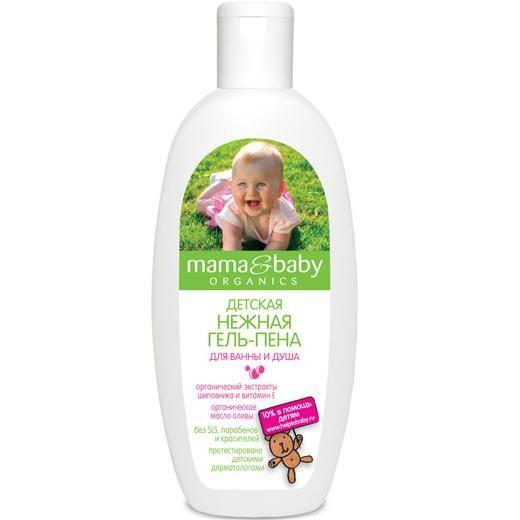 Mama&amp;Baby Пена-гель нежная для ванны и душа 300 млMama&amp;baby<br>Нежная гель-пена Mama&amp;amp;Baby обладает воздушной, бархатистой текстурой, которая обязательно понравится Вашему малышу. Безопасная формула не содержит SLS, парабенов и красителей. Гель-пена смягчает воду, ласково очищает детскую кожу, подходит для ежедневного купания. <br><br>Органический экстракт шиповника обладает заживляющим свойством, витамин Е предотвращает шелушение и раздражение. Органическое масло оливы питает и увлажняет кожу. <br><br>Купание с Mama&amp;amp;Baby – это весело и полезно!<br><br>Вес г: 350<br>Бренд : Mama&amp;Babу<br>Объем мл: 300<br>Страна производитель : Россия