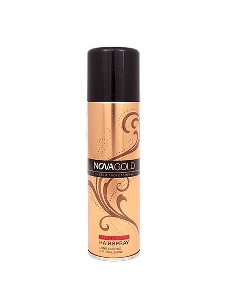 NOVA Золотистый лак для волос НОВА ГОЛД с протеинами шелка 200млNova<br>Лак NOVA GOLD предназначен для суперсильной фиксации без ощущения склеенности и липкости. Результат-эффект натуральности и надежно закрепленная прическа. Входящие в состав протеины шёлка ухаживают за волосами, а UV фильтры защищают от неблагоприятного воздействия окружающей среды. Средство идеально подходят для укладки волос, поврежденных или ослабленных из-за постоянного воздействия высоких температур. Лак обладает приятным, легким ароматом, быстро сохнет и легко смывается, при этом не повреждая волосы.<br><br>Вес г: 250<br>Бренд : Nova<br>Объем мл: 200<br>Тип волос : все типы волос<br>Страна производитель : Великобритания<br>Средство стайлинга : лак<br>Степень фиксации : сверхсильная<br>Эффект стайлинга : фиксация