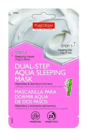 PUREDERM Маска-аква для сна Двойной уход: Отшелушивающий гель, 3 г + маска ночная с пептидами и экстрактом бамбука, 10 гPurederm<br>Сочетает в себе преимущества глубокого очищения и увлажнения для достижения максимального результата. Отшелушивающий гель (Шаг 1): содержит экстракты апельсина, лимона и яблока, отлично очищает поры, нежно отшелушивает и разглаживает поверхность кожи, что повышает эффективность аква- маски (Шаг 2) Аква-маска ночная с пептидами и экстрактом бамбука (Шаг 2): несмываемая ночная маска, содержит пептиды и экстракт бамбука, интенсивно восстанавливает кожу от сухости, глубоко питает и увлажняет кожу во время сна. К утру кожа становится более упругой, увлажненной и сияющей. Не содержит парабенов, минеральных масел, талька и SLS.  Способ применения  1) Тщательно очистите и высушите лицо 2) Откройте саше с отшелушивающим гелем (Шаг 1), нанесите его на лицо и мягко помассируйте в течение одной минуты, избегая области глаз и губ.  3) Смойте гель теплой водой  4) Перед сном откройте саше с маской (Шаг 2) и нанесите ее ровным слоем на кожу лица, избегая области глаз и губ. Оставьте маску на лице на ночь.  5) Утром смойте маску теплой водой. Рекомендуется использовать маску 2-3- раза в неделю  Состав  Отшелушивающий гель-состав: Water (Aqua), PEG-8, Cellulose, Dipropylene Glycol, Glycerin, Alcohol Denat, Sodium Hyaluronate, Pyrus Malus (Apple) Fruit Extract, Vaccinium Myrtillus Fruit/Leaf Extract, Saccharum Officinarum (Sugar Cane) Extract, Acer Saccharum (Sugar Maple) Extract, Citrus Aurantium Dulcis (Orange) Fruit Extract, Citrus Limon (Lemon) Fruit Extract, Allantoin, Beta-Glucan, Disodium EDTA, Carbomer, Triethanolamine, PEG-60 Hydrogenated Castor Oil,Chiorphenesin, 1,2-Hexanediol, Propanediol, Caprylyl Glycol, Illicium Verum (Anise) Fruit Extract, Phenoxyethanol, Fragrance (Parfum). Аква-маска ночная с пептидами и экстрактом бамбука-состав: Water (Aqua), Butylene Glycol, Cetyl Ethylhexanoate, Glycerin, Butyrospermum Parkli (Shea) Butter, Caprylic