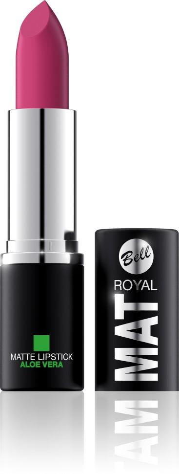 Bell Помада губная матовая с алоэ вера Royal Mat Lipstick (3 малиновый)Bell<br>Помада создает матовую поверхность и максимальную насыщенность цвета. Аппликация помады является исключительно нежной и легкой, создавая при этом матовый эффект. Формула, содержащая регенерирующие компоненты алоэ дополнительно питает и ухаживает за губами. Благодаря высокому содержанию пигментов и стойкой формуле помада держится на губах долгое время.<br>Руководство по выбору:<br>Для матового эффекта и увлажнения губСпособ применения:<br>Нанести на губы по контуруОсобенности состава:<br>Формула, содержащая регенерирующие компоненты алоэ дополнительно питает и ухаживает за губами. Благодаря высокому содержанию пигментов и стойкой формуле помада держится на губах долгое время.<br>Состав:<br>Ingredients: Ricinus Communis (Castor) Seed Oil, Isononyl Isononanoate, Caprylic/Capric Triglyceride, Aluminum Starch Octenylsuccinate, VP/Hexadecene Copolymer, Ozokerite, Candelilla Cera (Euphorbia Cerifera (Candelilla) Wax), Ethylhexyl Palmitate, Cera Microcristallina (Microcrystalline Wax), Copernicia Cerifera Cera (Copernicia Cerifera (Carnauba) Wax), Octyldodecanol, Octyldodecyl Stearate, Isopropyl Palmitate, Aloe Barbadensis Leaf Extract, Paraffinum Liquidum (Mineral Oil), Glyceryl Caprylate, BHT, Parfum (Fragrance), Benzyl Alcohol, Hexyl Cinnamal, Linalool [may contain +/- CI 15850 (Red 6 Lake, Red 7 Lake), CI 42090 (Blue 1 Lake), CI 45410 (Red 27 Lake), CI 77491, CI 77492, CI 77499 (Iron Oxides), CI 77891 (Titanium Dioxide)]<br><br>Вес г: 47<br>Бренд : Bell<br>Объем мл: 4<br>Упаковка помады : футляр (выдвижная)<br>Текстура помады : матовая<br>Свойства помады : увлажняющая<br>Вид помады : классическая<br>Страна производитель : Польша