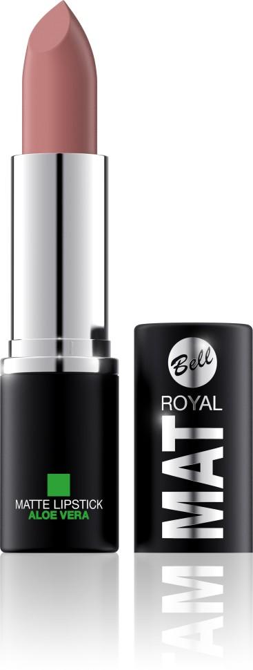 Bell Помада губная матовая с алоэ вера Royal Mat Lipstick (5 бежевый)Bell<br>Помада создает матовую поверхность и максимальную насыщенность цвета. Аппликация помады является исключительно нежной и легкой, создавая при этом матовый эффект. Формула, содержащая регенерирующие компоненты алоэ дополнительно питает и ухаживает за губами. Благодаря высокому содержанию пигментов и стойкой формуле помада держится на губах долгое время.<br>Руководство по выбору:<br>Для матового эффекта и увлажнения губСпособ применения:<br>Нанести на губы по контуруОсобенности состава:<br>Формула, содержащая регенерирующие компоненты алоэ дополнительно питает и ухаживает за губами. Благодаря высокому содержанию пигментов и стойкой формуле помада держится на губах долгое время.<br>Состав:<br>Ingredients: Ricinus Communis (Castor) Seed Oil, Isononyl Isononanoate, Caprylic/Capric Triglyceride, Aluminum Starch Octenylsuccinate, VP/Hexadecene Copolymer, Ozokerite, Candelilla Cera (Euphorbia Cerifera (Candelilla) Wax), Ethylhexyl Palmitate, Cera Microcristallina (Microcrystalline Wax), Copernicia Cerifera Cera (Copernicia Cerifera (Carnauba) Wax), Octyldodecanol, Octyldodecyl Stearate, Isopropyl Palmitate, Aloe Barbadensis Leaf Extract, Paraffinum Liquidum (Mineral Oil), Glyceryl Caprylate, BHT, Parfum (Fragrance), Benzyl Alcohol, Hexyl Cinnamal, Linalool [may contain +/- CI 15850 (Red 6 Lake, Red 7 Lake), CI 42090 (Blue 1 Lake), CI 45410 (Red 27 Lake), CI 77491, CI 77492, CI 77499 (Iron Oxides), CI 77891 (Titanium Dioxide)]<br><br>Вес г: 47<br>Бренд : Bell<br>Объем мл: 4<br>Упаковка помады : футляр (выдвижная)<br>Текстура помады : матовая<br>Свойства помады : питательная<br>Вид помады : классическая<br>Страна производитель : Польша
