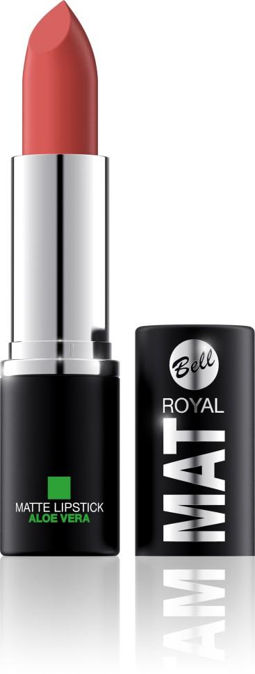 Bell Помада губная матовая с алоэ вера Royal Mat Lipstick (9 рыжий)Bell<br>Помада создает матовую поверхность и максимальную насыщенность цвета. Аппликация помады является исключительно нежной и легкой, создавая при этом матовый эффект. Формула, содержащая регенерирующие компоненты алоэ дополнительно питает и ухаживает за губами. Благодаря высокому содержанию пигментов и стойкой формуле помада держится на губах долгое время.<br>Руководство по выбору:<br>Для матового эффекта и увлажнения губСпособ применения:<br>Нанести на губы по контуруОсобенности состава:<br>Формула, содержащая регенерирующие компоненты алоэ дополнительно питает и ухаживает за губами. Благодаря высокому содержанию пигментов и стойкой формуле помада держится на губах долгое время.<br>Состав:<br>Ingredients: Ricinus Communis (Castor) Seed Oil, Isononyl Isononanoate, Caprylic/Capric Triglyceride, Aluminum Starch Octenylsuccinate, VP/Hexadecene Copolymer, Ozokerite, Candelilla Cera (Euphorbia Cerifera (Candelilla) Wax), Ethylhexyl Palmitate, Cera Microcristallina (Microcrystalline Wax), Copernicia Cerifera Cera (Copernicia Cerifera (Carnauba) Wax), Octyldodecanol, Octyldodecyl Stearate, Isopropyl Palmitate, Aloe Barbadensis Leaf Extract, Paraffinum Liquidum (Mineral Oil), Glyceryl Caprylate, BHT, Parfum (Fragrance), Benzyl Alcohol, Hexyl Cinnamal, Linalool [may contain +/- CI 15850 (Red 6 Lake, Red 7 Lake), CI 42090 (Blue 1 Lake), CI 45410 (Red 27 Lake), CI 77491, CI 77492, CI 77499 (Iron Oxides), CI 77891 (Titanium Dioxide)]<br><br>Вес г: 47<br>Бренд : Bell<br>Объем мл: 4<br>Упаковка помады : футляр (выдвижная)<br>Текстура помады : матовая<br>Свойства помады : увлажняющая<br>Вид помады : классическая<br>Страна производитель : Польша
