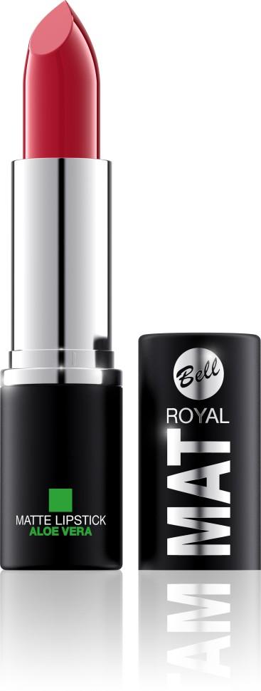 Bell Помада губная матовая с алоэ вера Royal Mat Lipstick (12 красный)Bell<br>Помада создает матовую поверхность и максимальную насыщенность цвета. Аппликация помады является исключительно нежной и легкой, создавая при этом матовый эффект. Формула, содержащая регенерирующие компоненты алоэ дополнительно питает и ухаживает за губами. Благодаря высокому содержанию пигментов и стойкой формуле помада держится на губах долгое время.<br>Руководство по выбору:<br>Для матового эффекта и увлажнения губСпособ применения:<br>Нанести на губы по контуруОсобенности состава:<br>Формула, содержащая регенерирующие компоненты алоэ дополнительно питает и ухаживает за губами. Благодаря высокому содержанию пигментов и стойкой формуле помада держится на губах долгое время.<br>Состав:<br>Ingredients: Ricinus Communis (Castor) Seed Oil, Isononyl Isononanoate, Caprylic/Capric Triglyceride, Aluminum Starch Octenylsuccinate, VP/Hexadecene Copolymer, Ozokerite, Candelilla Cera (Euphorbia Cerifera (Candelilla) Wax), Ethylhexyl Palmitate, Cera Microcristallina (Microcrystalline Wax), Copernicia Cerifera Cera (Copernicia Cerifera (Carnauba) Wax), Octyldodecanol, Octyldodecyl Stearate, Isopropyl Palmitate, Aloe Barbadensis Leaf Extract, Paraffinum Liquidum (Mineral Oil), Glyceryl Caprylate, BHT, Parfum (Fragrance), Benzyl Alcohol, Hexyl Cinnamal, Linalool [may contain +/- CI 15850 (Red 6 Lake, Red 7 Lake), CI 42090 (Blue 1 Lake), CI 45410 (Red 27 Lake), CI 77491, CI 77492, CI 77499 (Iron Oxides), CI 77891 (Titanium Dioxide)]<br><br>Вес г: 47<br>Бренд : Bell<br>Объем мл: 4<br>Упаковка помады : футляр (выдвижная)<br>Текстура помады : матовая<br>Свойства помады : увлажняющая<br>Вид помады : классическая<br>Страна производитель : Польша